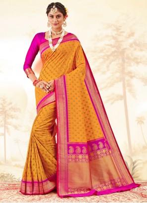 Mustard Banarasi Silk Weaving Traditional Saree
