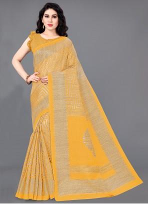 Mustard Casual Khadi Silk Trendy Saree