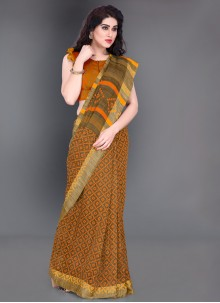Mustard Casual Printed Saree