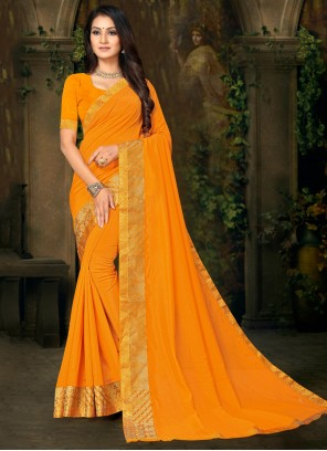 Mustard Casual Silk Designer Saree
