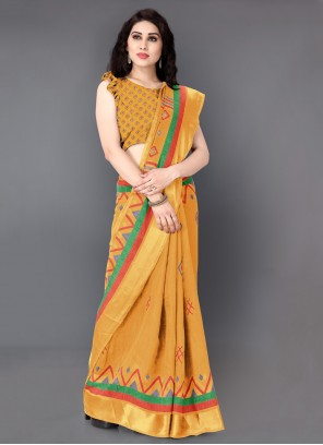 Mustard Casual Trendy Saree