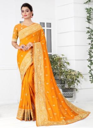 Mustard Ceremonial Silk Designer Traditional Saree