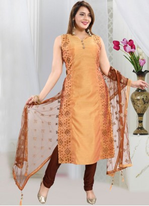 Mustard Chanderi Fancy Churidar Designer Suit