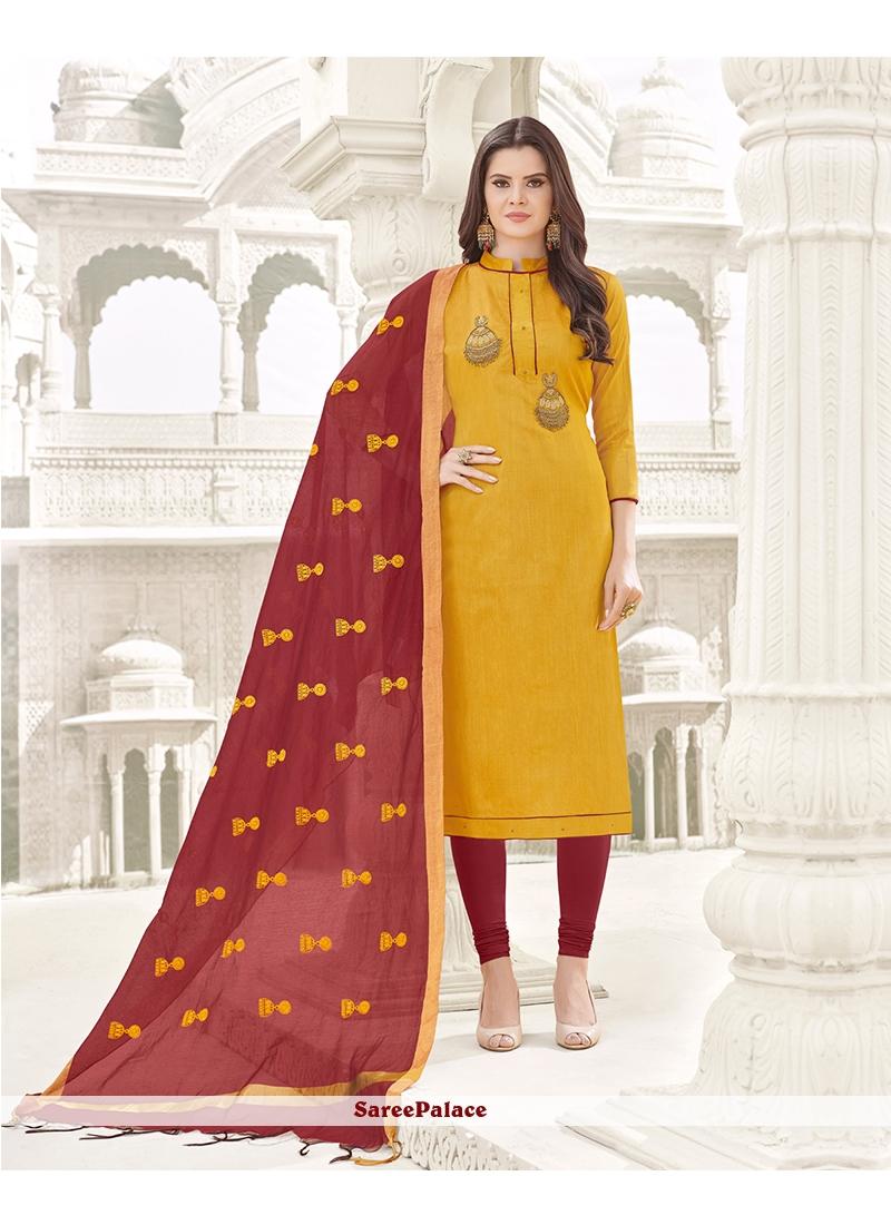 Mustard Churidar Designer Suit