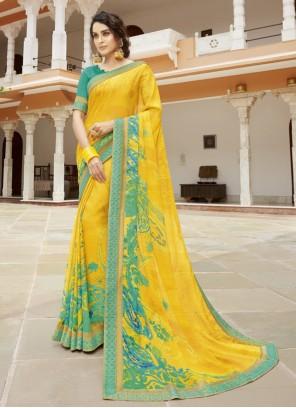 Mustard Color Contemporary Saree