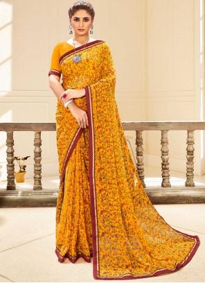 Mustard Color Traditional Saree