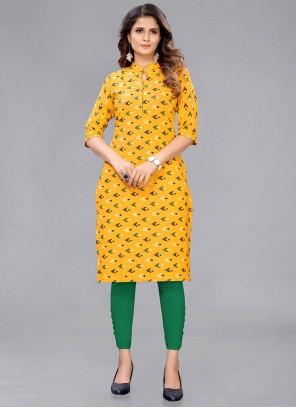Mustard Cotton Printed Casual Kurti