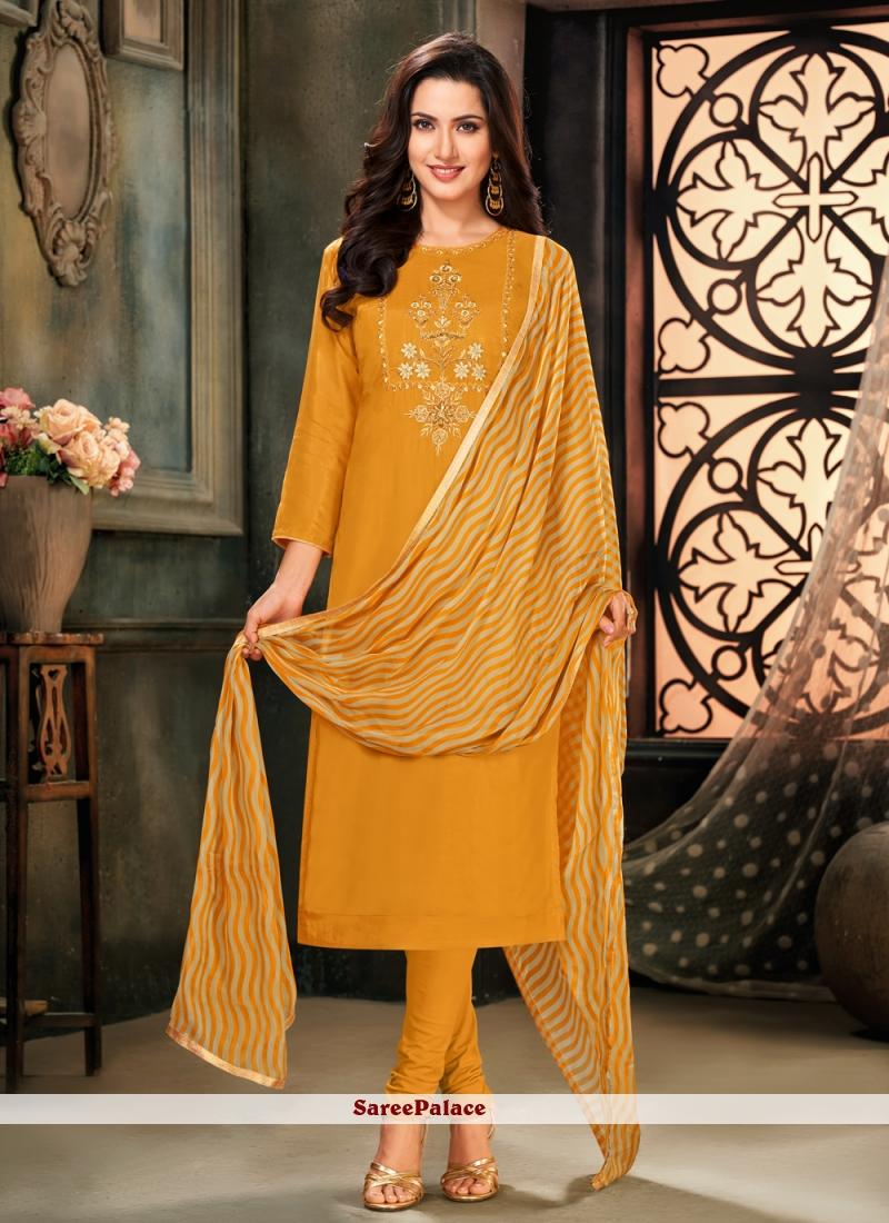 Mustard Cotton Embroidered Trendy Salwar Suit