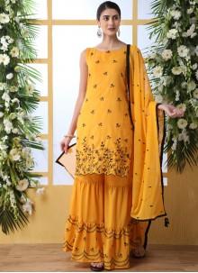 Mustard Cotton Festival Designer Palazzo Suit