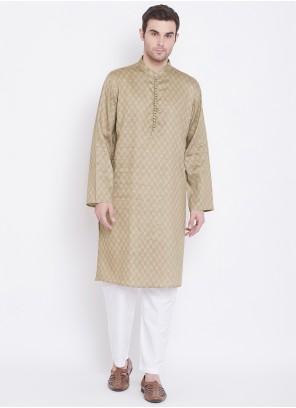 Beige Cotton Mehndi Kurta Pyjama