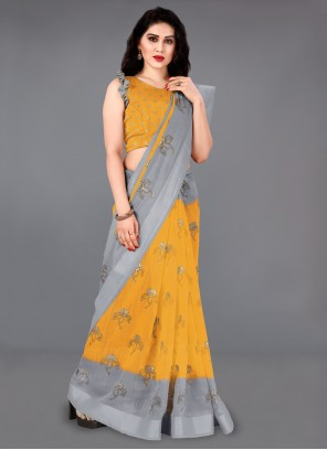 Mustard Cotton Party Casual Saree