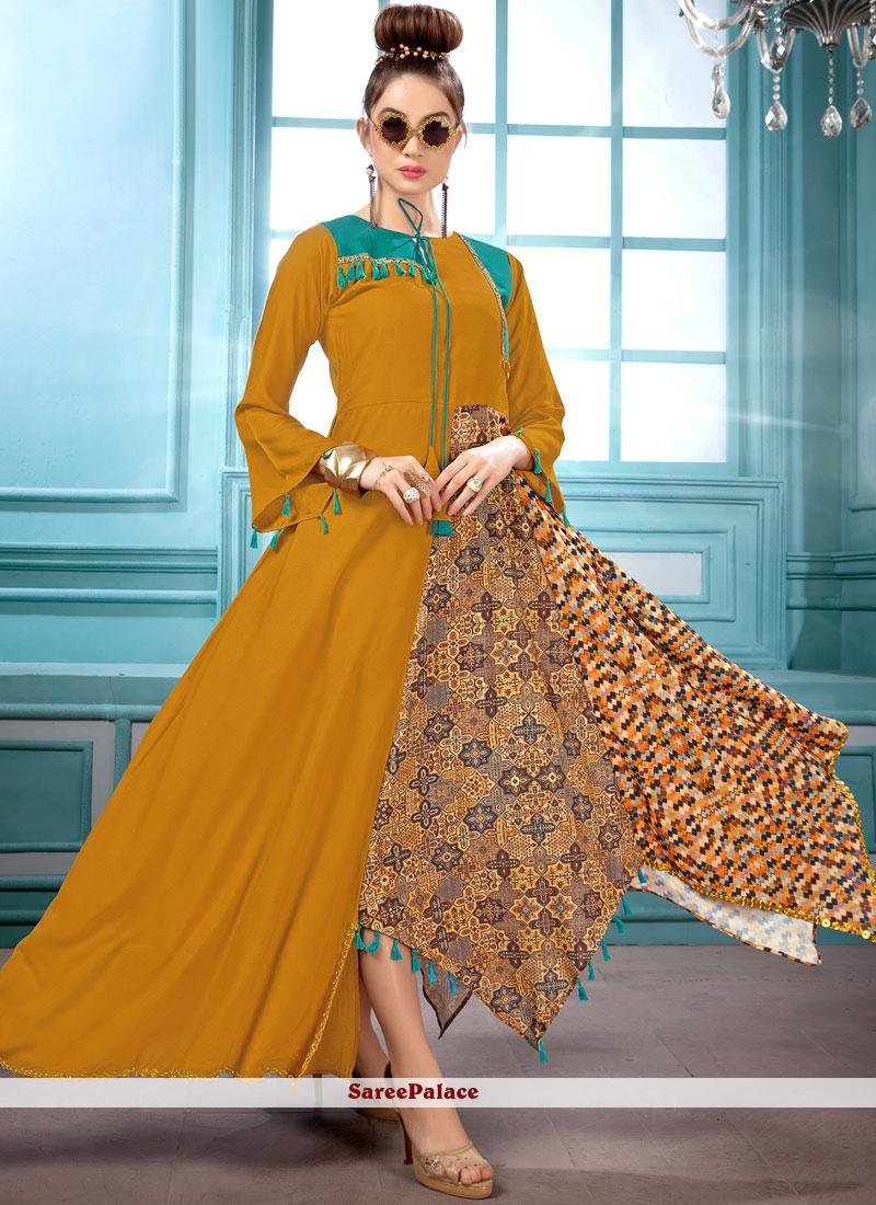 b125119d49c Buy Mustard Digital Print Maslin Silk Party Wear Kurti Online