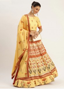 Mustard Digital Print Silk Trendy Lehenga Choli