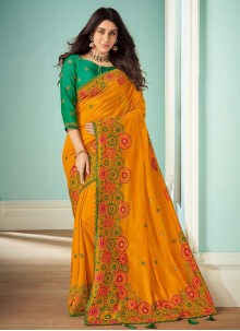 Mustard Embroidered Bollywood Saree