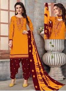 Mustard Embroidered Designer Patiala Suit