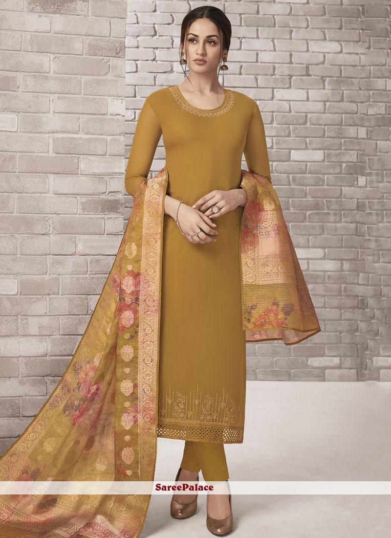 Mustard Embroidered Festival Churidar Designer Suit