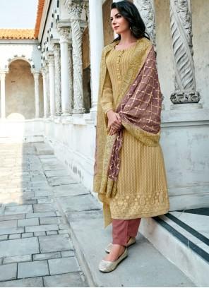 Mustard Embroidered Georgette Designer Suit