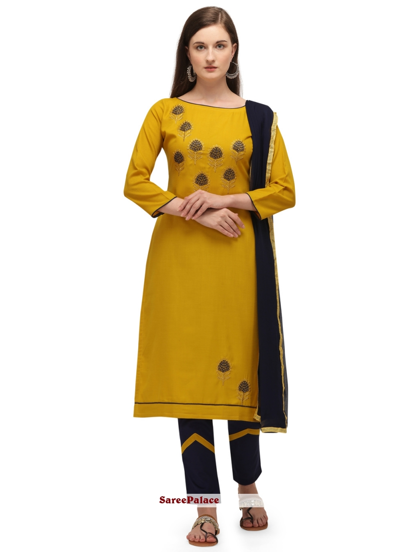 Mustard Embroidered Pant Style Suit