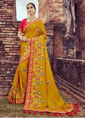 Mustard Embroidered Silk Saree