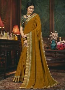 Mustard Embroidered Silk Traditional Designer Saree