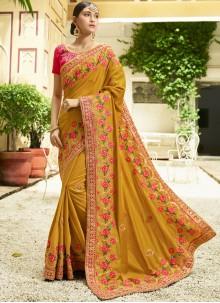 Mustard Embroidered Work Silk Trendy Saree