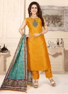 Mustard Fancy Art Silk Readymade Suit
