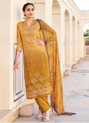 Mustard Fancy Fabric Ceremonial Designer Palazzo Suit