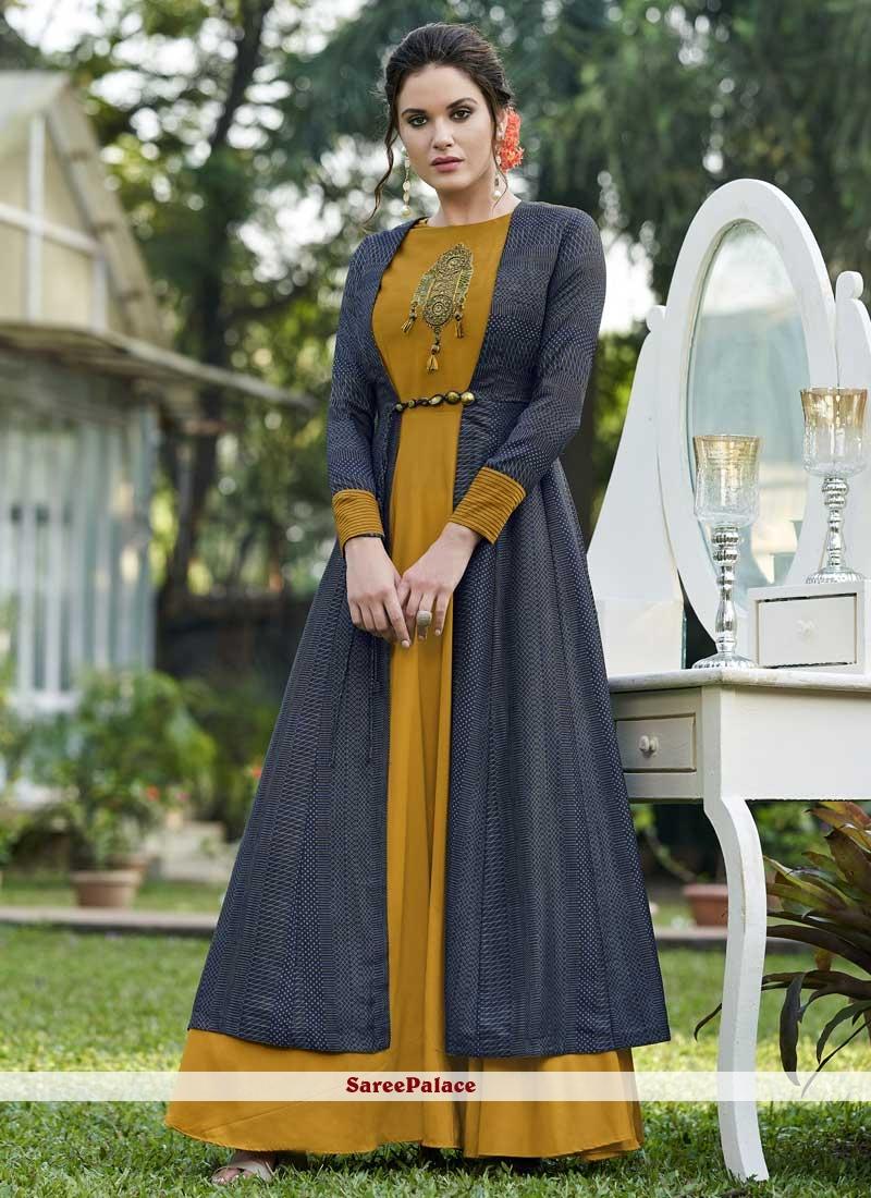 37a7a385135 Buy Mustard Fancy Festival Designer Gown Online