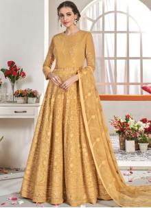 Mustard Faux Georgette Anarkali Salwar Suit