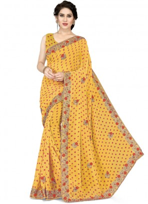 Mustard Faux Georgette Casual Saree