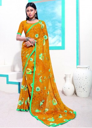 Mustard Faux Georgette Casual Printed Saree