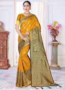 Mustard Festival Art Banarasi Silk Traditional Saree
