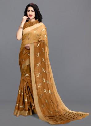 Mustard Festival Cotton Printed Saree