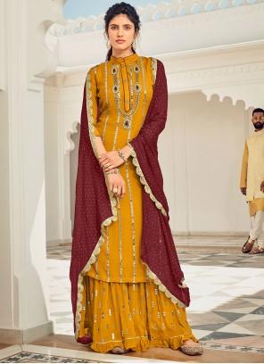 Mustard Festival Faux Georgette Designer Pakistani Suit