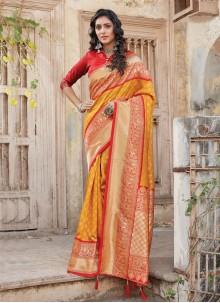 Mustard Festival Silk Traditional Designer Saree