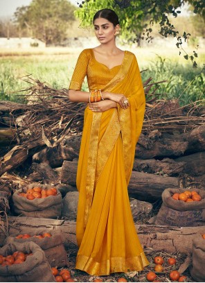 Mustard Festival Trendy Saree