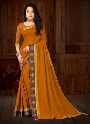 Mustard Festival Vichitra Silk Classic Designer Saree