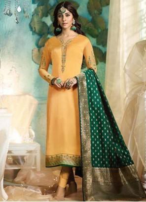 Mustard Georgette Satin Mehndi Pant Style Suit