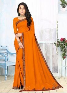 Mustard Lace Vichitra silk Classic Saree