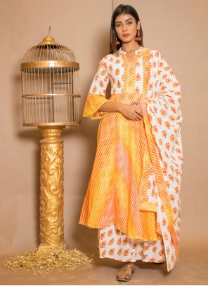 Mustard Lace Cotton Readymade Salwar Kameez