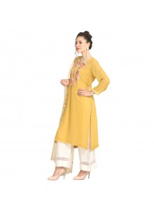 Mustard Machine Embroidery  Viscose Party Wear Kurti
