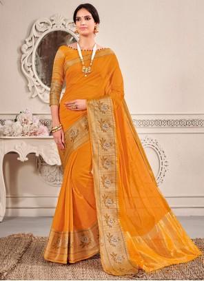 Mustard Mehndi Banarasi Silk Traditional Saree