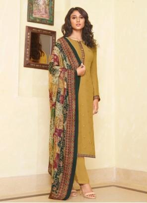 Mustard Muslin Designer Straight Salwar Suit