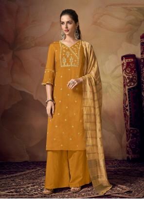 Mustard Muslin Embroidered Designer Palazzo Salwar Suit