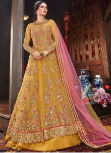 Mustard Net Floor Length Anarkali Suit