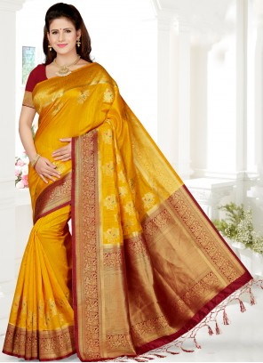 Mustard Party Designer Saree