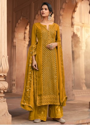 Mustard Party Georgette Designer Pakistani Suit