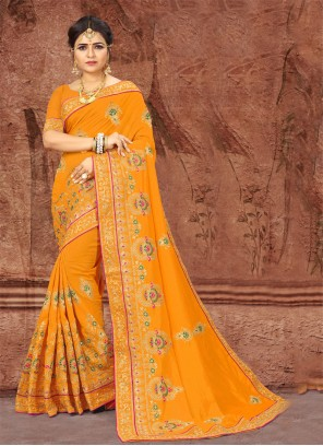 Mustard Party Silk Classic Designer Saree
