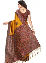 Mustard Print Work Art Silk Casual Saree