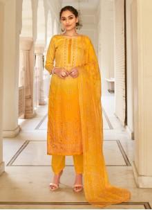 Mustard Printed Fancy Fabric Designer Palazzo Suit